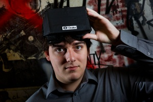 Palmer Luckey, the creator of the Oculus Rift virtual reality gaming headset, at his workshop in Irvine, Calif.- courtesy of the Dallas Morning News.